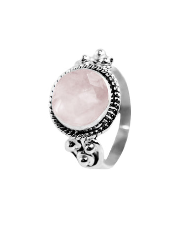 Divya 10mm Cushion Cut Rose Quartz 925 Sterling Silver Ring
