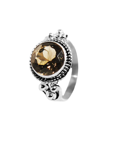 Divya Round Cushion Cut Smoky Quartz 925 Sterling Silver Ring