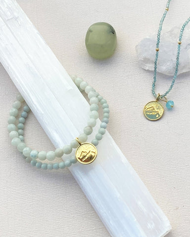 Earth Elements Bracelet Set with Amazonite in Gold Vermeil