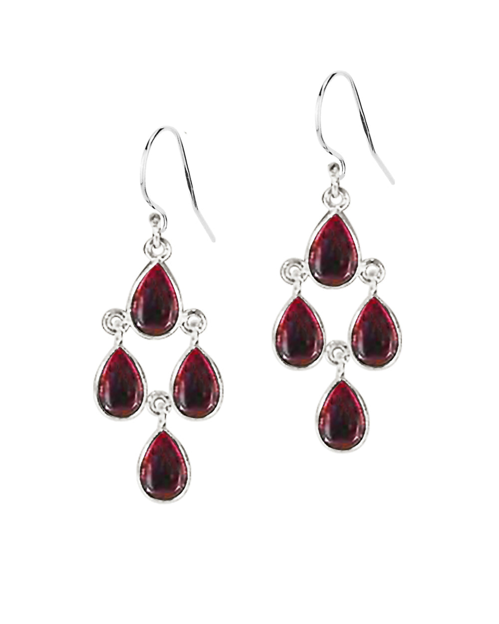 Earthly Elements Garnet Chandelier Earrings in Sterling Silver