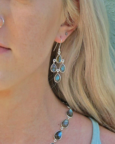Earthly Elements Fire Labradorite Chandelier Earrings in Sterling Silver