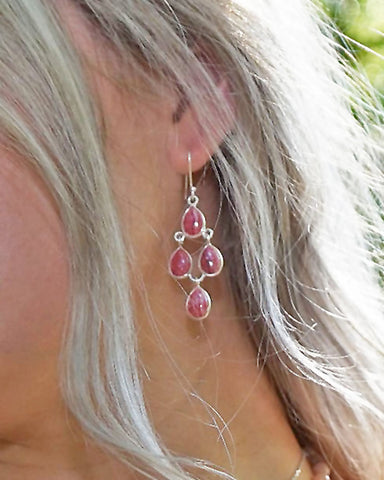 Earthly Elements Rhodochrosite Chandelier Earrings in Sterling Silver