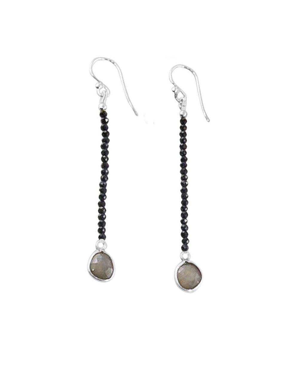 Empowered Dangle Drop Earrings -  Black Spinel