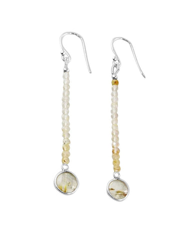 Empowered Dangle Drop Earrings -  Gold Rutilated Quartz