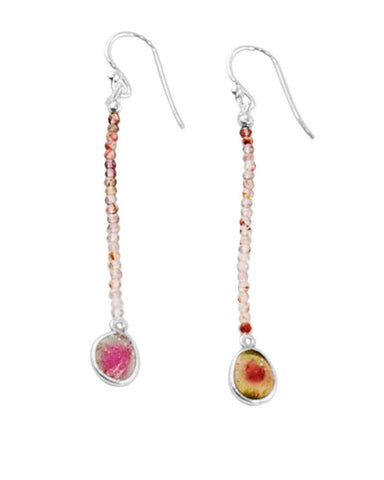 Empowered Dangle Drop Earrings -  Watermelon Tourmaline