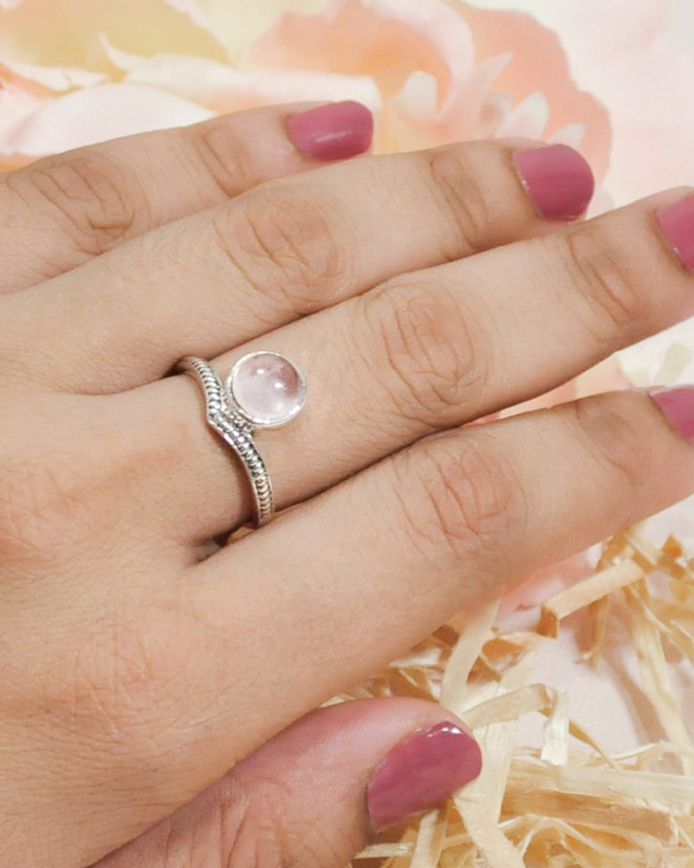 Enlightened Sterling Silver Ring - Rose Quartz