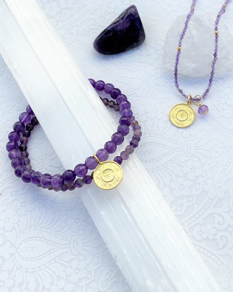 Ether Elements Necklace with Amethyst in Gold Vermeil