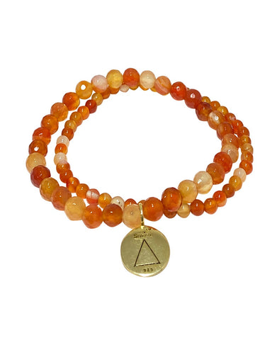Fire Elements Bracelet Set with Carnelian in Gold Vermeil
