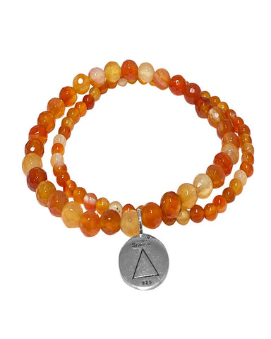 Fire Elements Bracelet Set with Carnelian in Sterling Silver