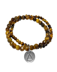 Fire Elements Bracelet Set with Tiger's Eye in Sterling Silver
