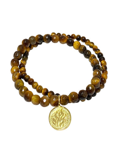 Fire Elements Bracelet Set with Tiger's Eye in Gold Vermeil