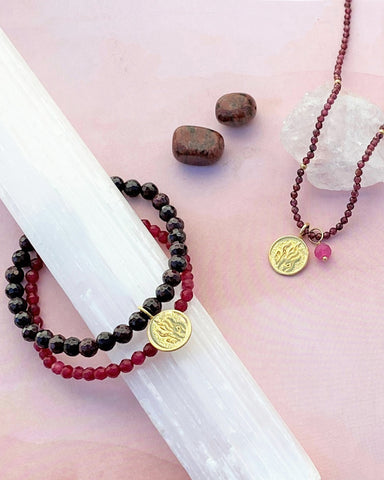 Fire Elements Bracelet Set with Garnet in Gold Vermeil