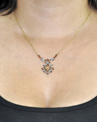 Garnet and Crystals Necklace in Gold Vermeil