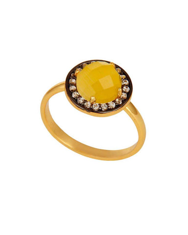Halo Citrine and White Topaz Pave Ring in Gold Vermeil