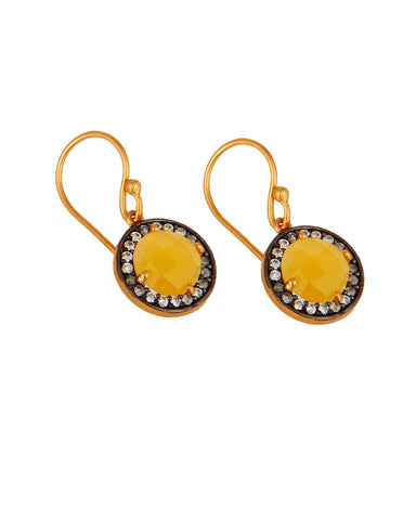 Halo Citrine and White Topaz Pave Earrings in Gold Vermeil