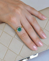 Halo Green Onyx and White Topaz Pave Ring in Gold Vermeil
