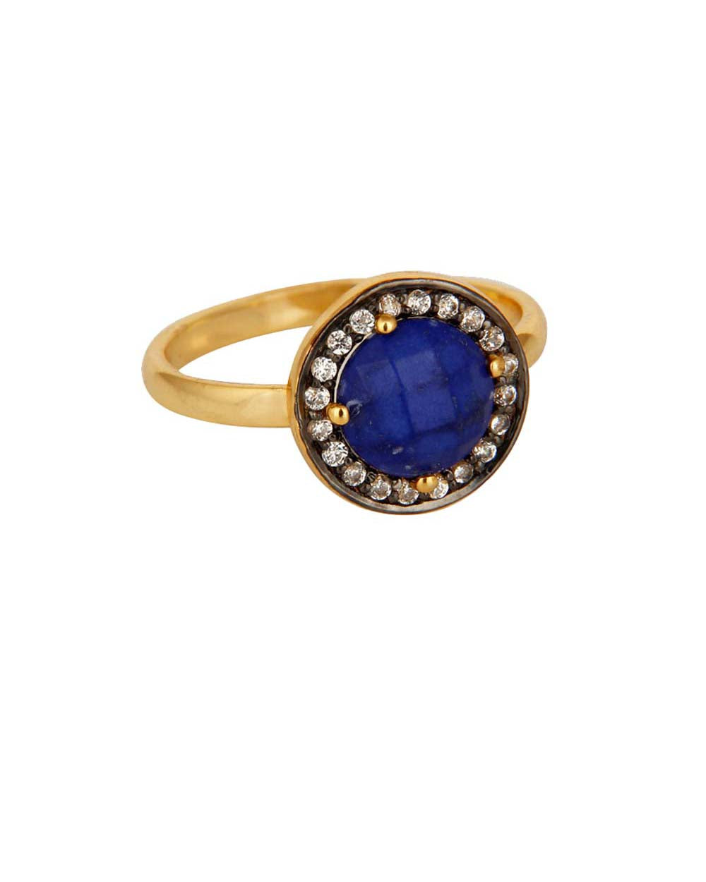 Halo Lapis Lazuli and White Topaz Pave Ring in Gold Vermeil
