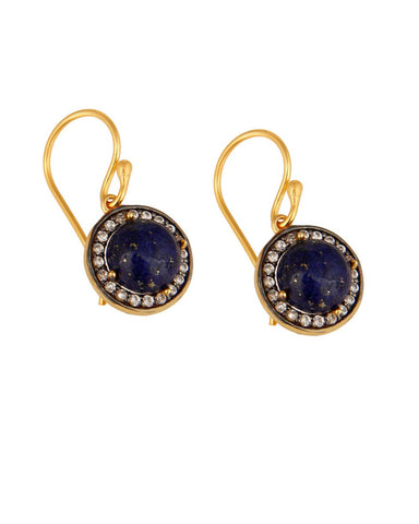 Halo Lapis Lazuli and White Topaz Pave Earrings in Gold Vermeil