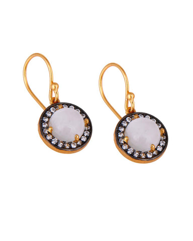Halo Moonstone and White Topaz Pave Earrings in Gold Vermeil
