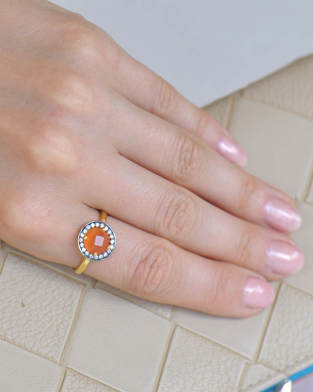 Halo Peach Moonstone and White Topaz Pave Ring in Gold Vermeil