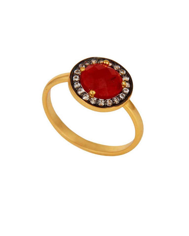 Halo Red Onyx and White Topaz Pave Ring in Gold Vermeil