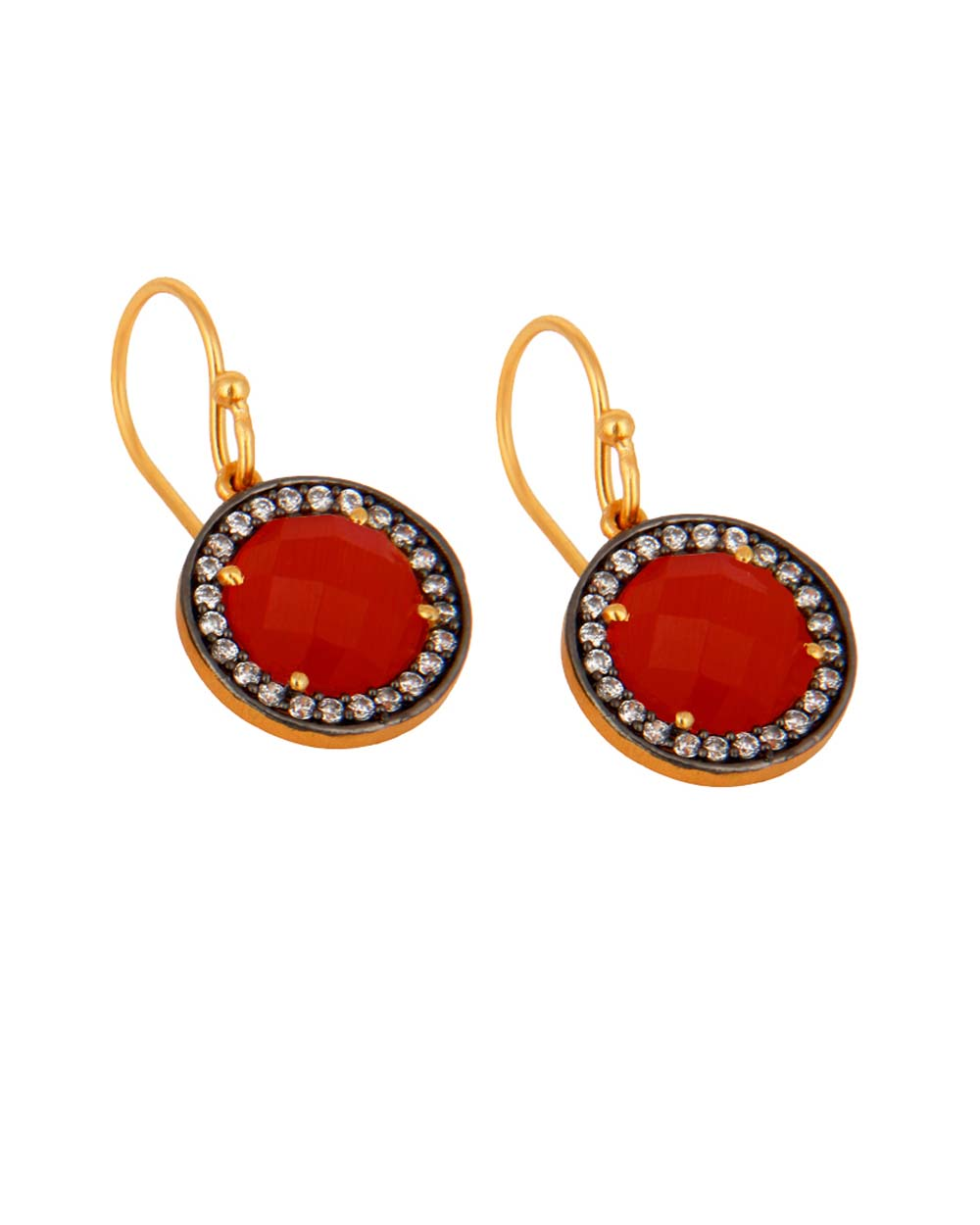 Halo Red Onyx and White Topaz Pave Earrings in Gold Vermeil