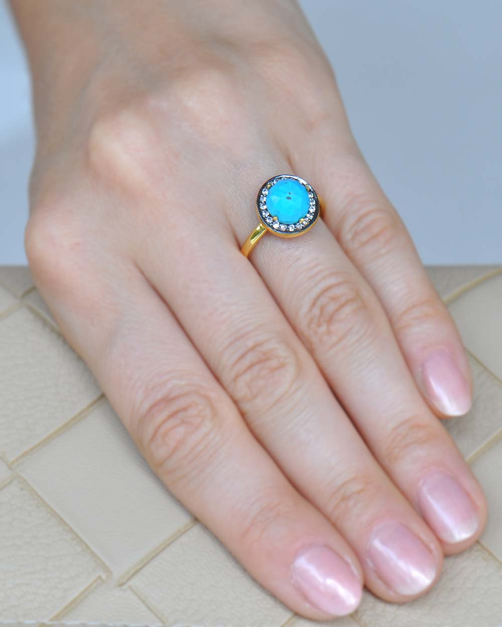 Halo Turquoise and White Topaz Pave Ring in Gold Vermeil