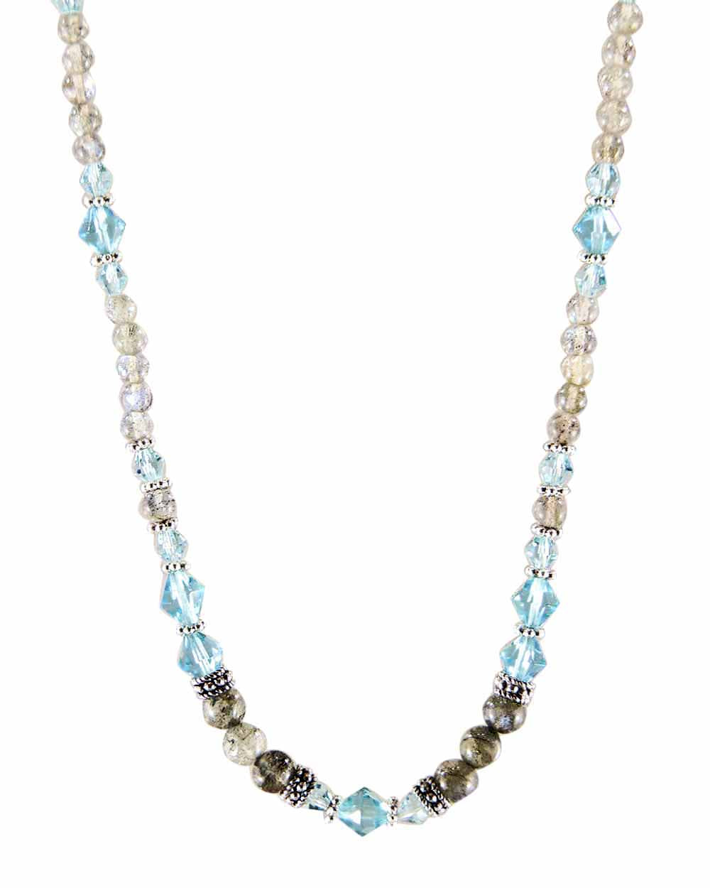 Inspiration Blue Crystals and Labradorite Necklace