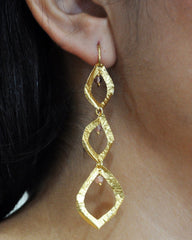 Gold Leaves and Tourmaline Drops Dangle Earrings