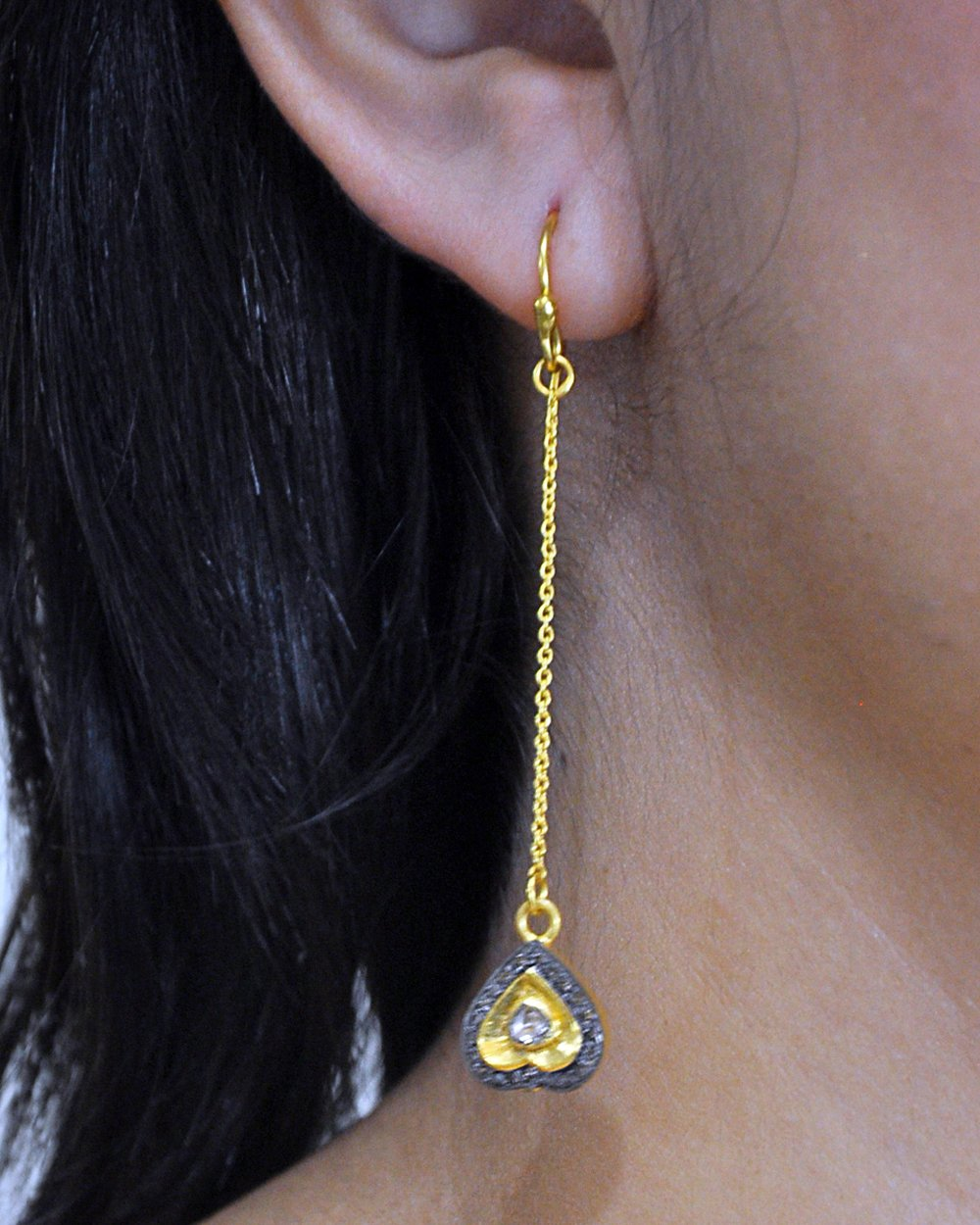 Heart Rose Cut Diamonds Long Drop Earrings in Gold Vermeil