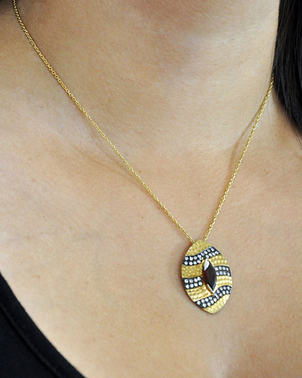Oval Garnet and Crystal Pendant Necklace in Gold Vermeil