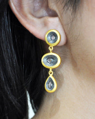 Triple Eye Earrings in Gold Vermeil with Crystals