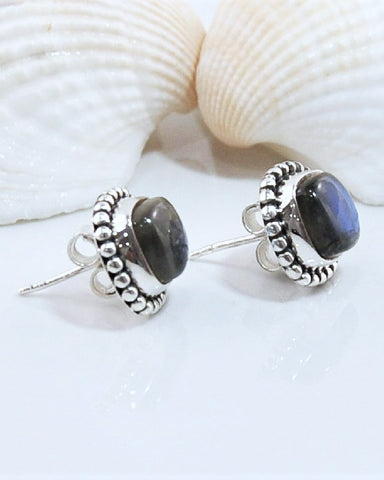 Labradorite Stud Earrings in 925 Sterling Silver