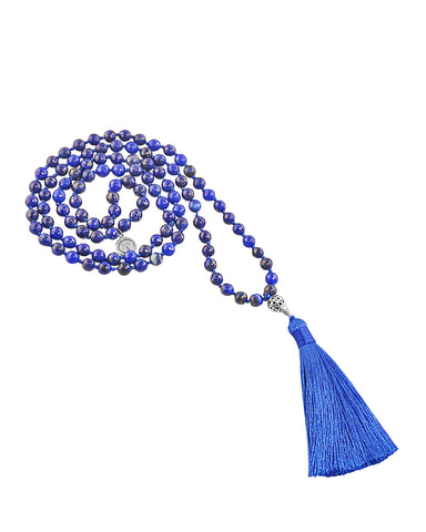 Water Element Lapis Lazuli 108 Beads Mala with Silver Eye Guru Bead
