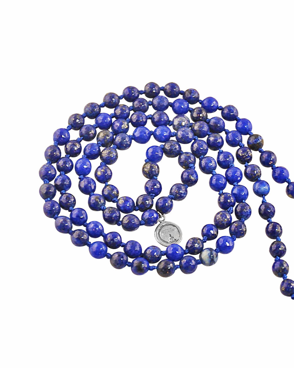 Water Element Lapis Lazuli 108 Beads Mala with Silver Lotus Guru Bead
