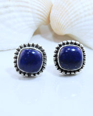 Lapis Lazuli Stud Earrings in 925 Sterling Silver