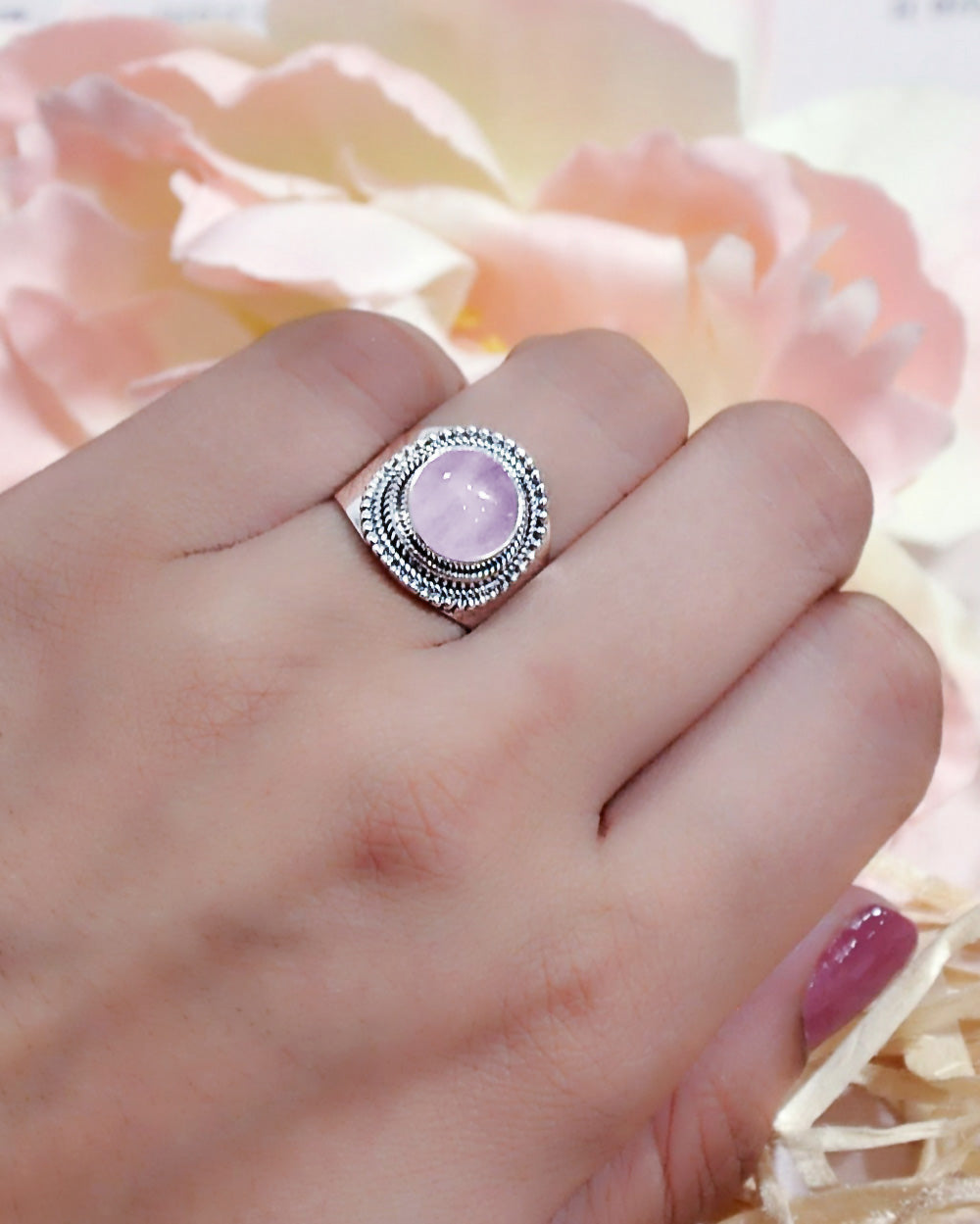 Luna Sterling Silver Ring - Rose Quartz