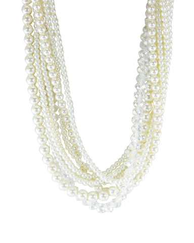 Lustrous Crystals and Pearls Multi Layered Adjustable Necklace