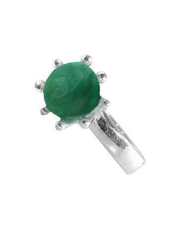 Sunflower Malachite Pinky Ring in Sterling Silver