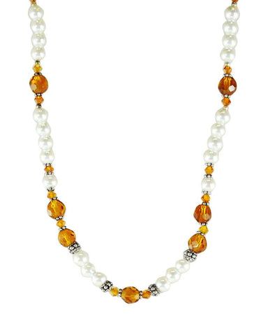 Manifest Abundance Pearl and Amber Crystals Necklace Sterling Silver