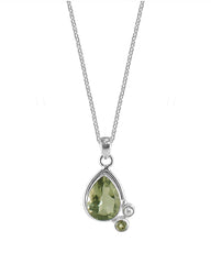 Mantra Green Amethyst Parsiolite 925 Sterling Silver Pendant Necklace