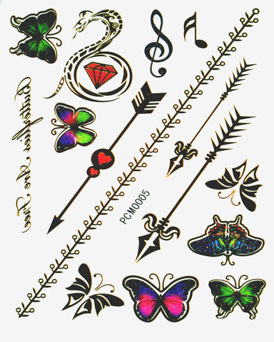 Music Festival Pack Metallic Flash Tattoo - Silver Trendz