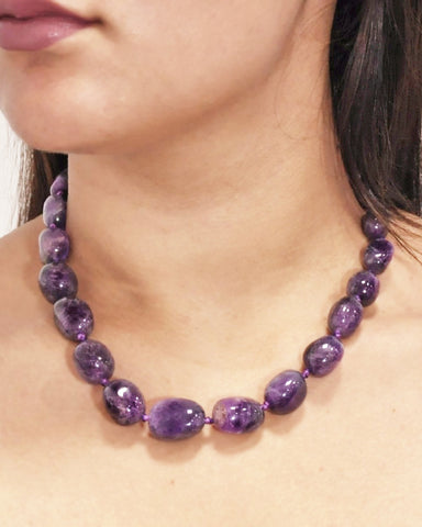 Natural Amethyst Large Crystals Necklace
