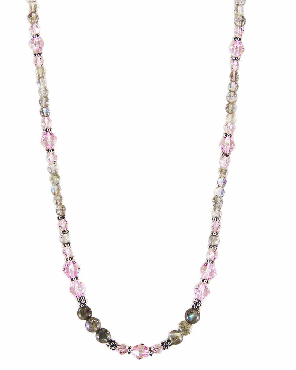 New Love Pink Crystals and Labradorite Necklace
