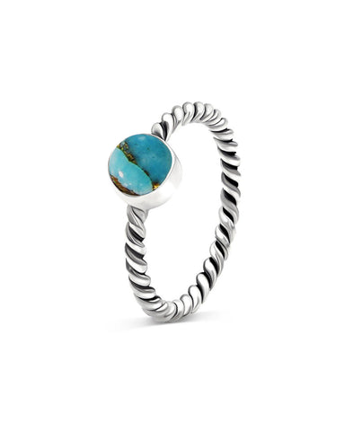 Nova 925 Sterling Silver Ring Blue Copper Turquoise