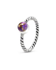 Nova 925 Sterling Silver Ring Purple Copper Turquoise