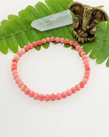 Pink Coral Mini Gemstone Energy Bracelet