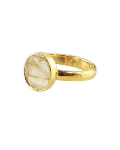 Power Gemstone Ring for Balance Gold Vermeil - Gold Rutilated Quartz