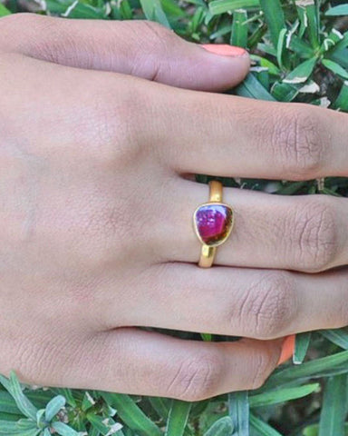 Power Gemstone Ring for Abundance Gold Vermeil - Tourmaline
