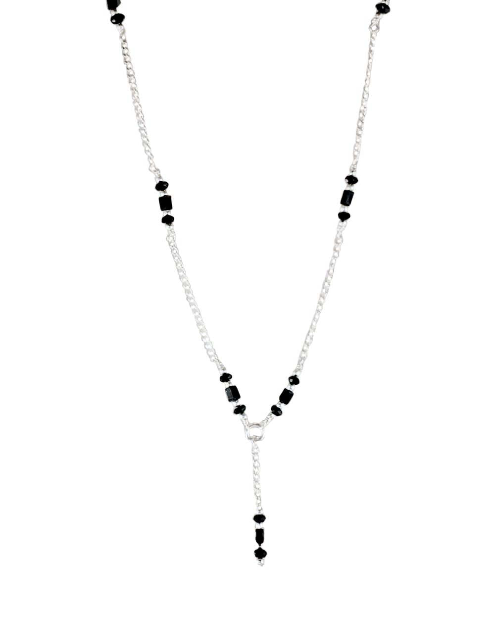 Protective Energy Black Onyx Sterling Silver Lariat Necklace